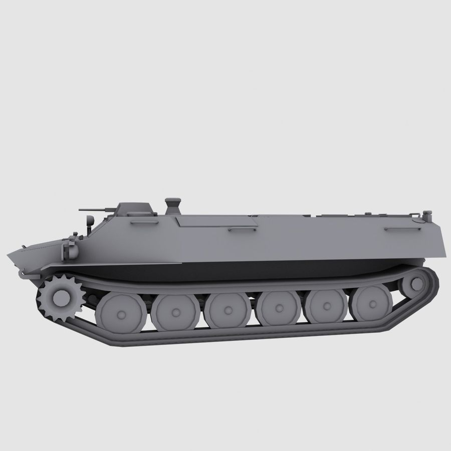 MT-LB Russian Army Armored Transport Tug Game Model royalty-free 3d model - Preview no. 10