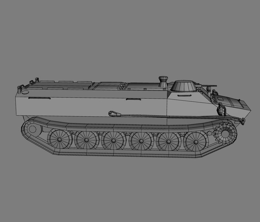 MT-LB Russian Army Armored Transport Tug Game Model royalty-free 3d model - Preview no. 20
