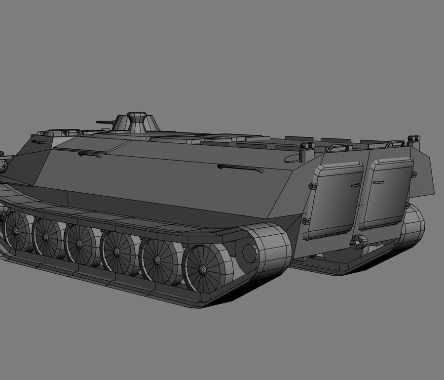 MT-LB Russian Army Armored Transport Tug Game Model royalty-free 3d model - Preview no. 23
