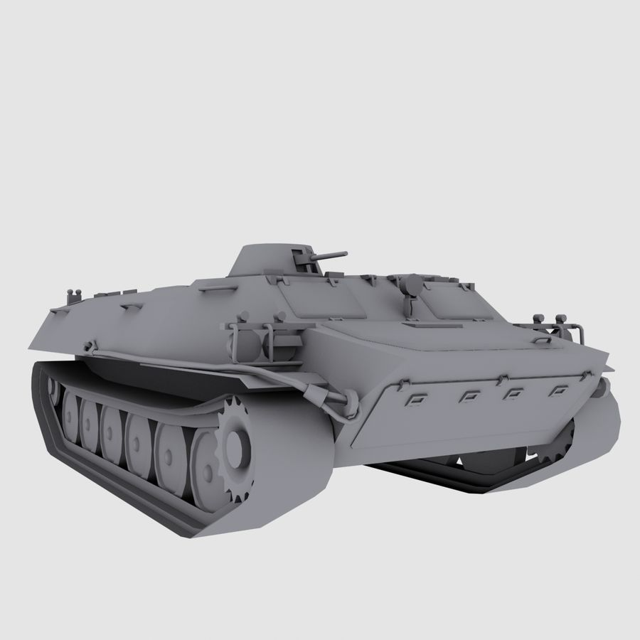 MT-LB Russian Army Armored Transport Tug Game Model royalty-free 3d model - Preview no. 1
