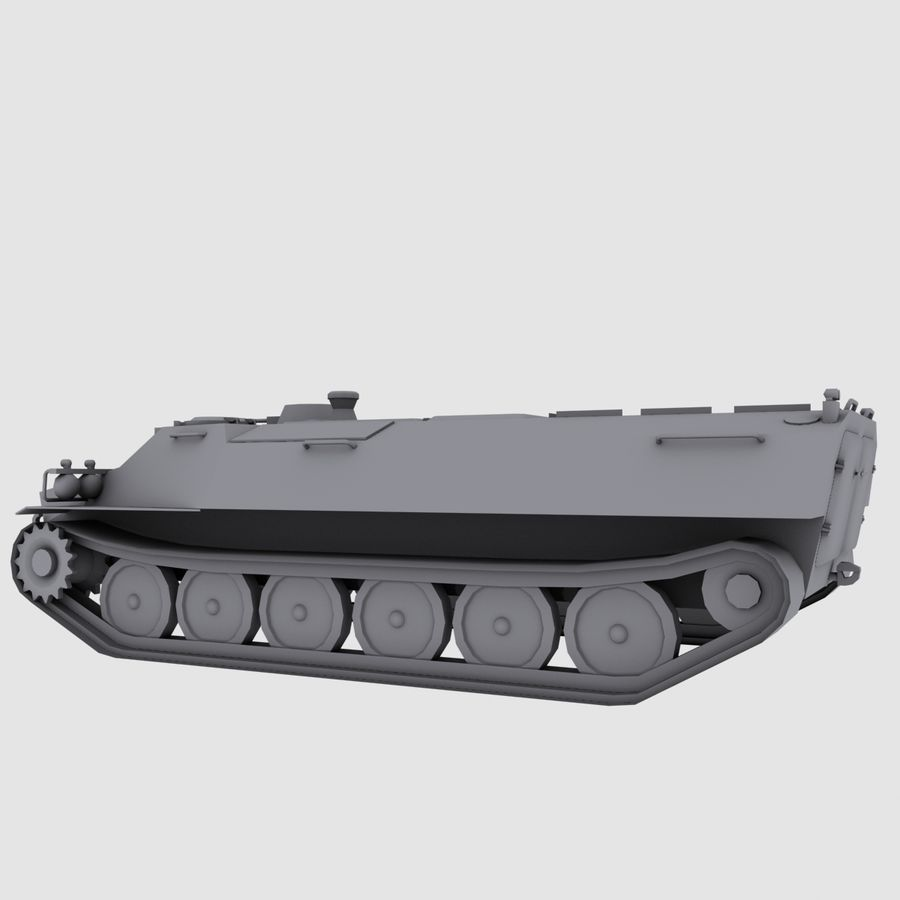 MT-LB Russian Army Armored Transport Tug Game Model royalty-free 3d model - Preview no. 9