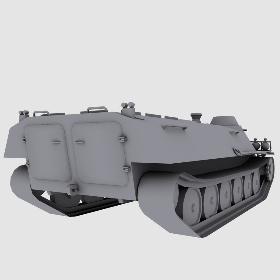 MT-LB Russian Army Armored Transport Tug Game Model royalty-free 3d model - Preview no. 5