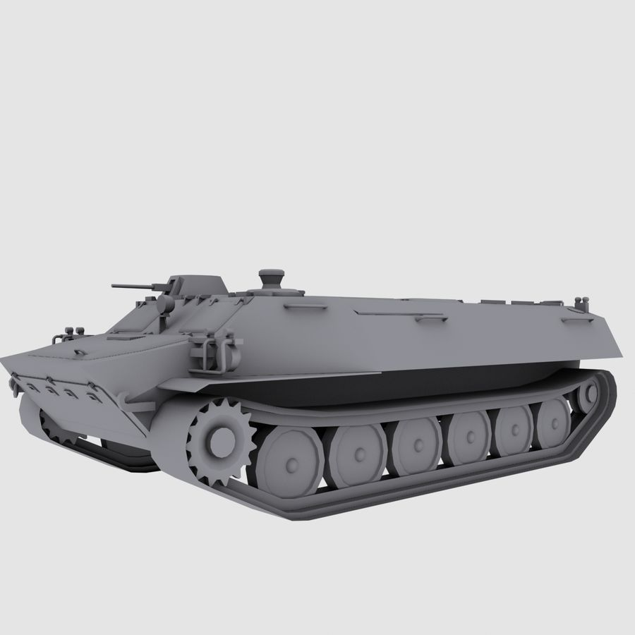 MT-LB Russian Army Armored Transport Tug Game Model royalty-free 3d model - Preview no. 11