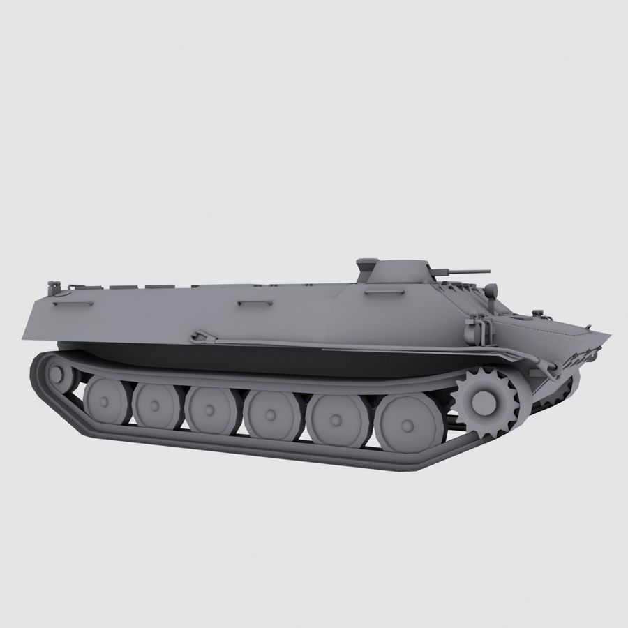 MT-LB Russian Army Armored Transport Tug Game Model royalty-free 3d model - Preview no. 2