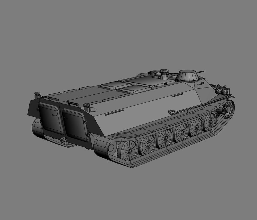 MT-LB Russian Army Armored Transport Tug Game Model royalty-free 3d model - Preview no. 21