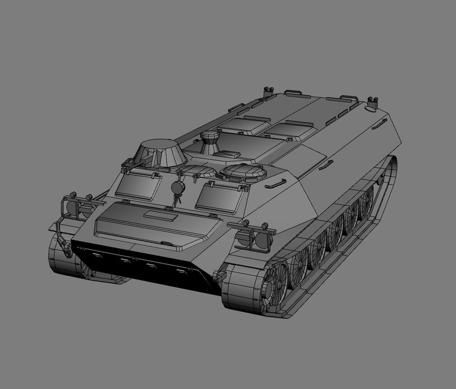 MT-LB Russian Army Armored Transport Tug Game Model royalty-free 3d model - Preview no. 17