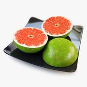 Tranche de pamplemousse vert 3d model
