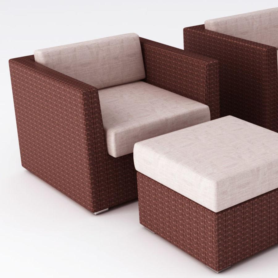 Polyrattan möbel uppsättning royalty-free 3d model - Preview no. 5