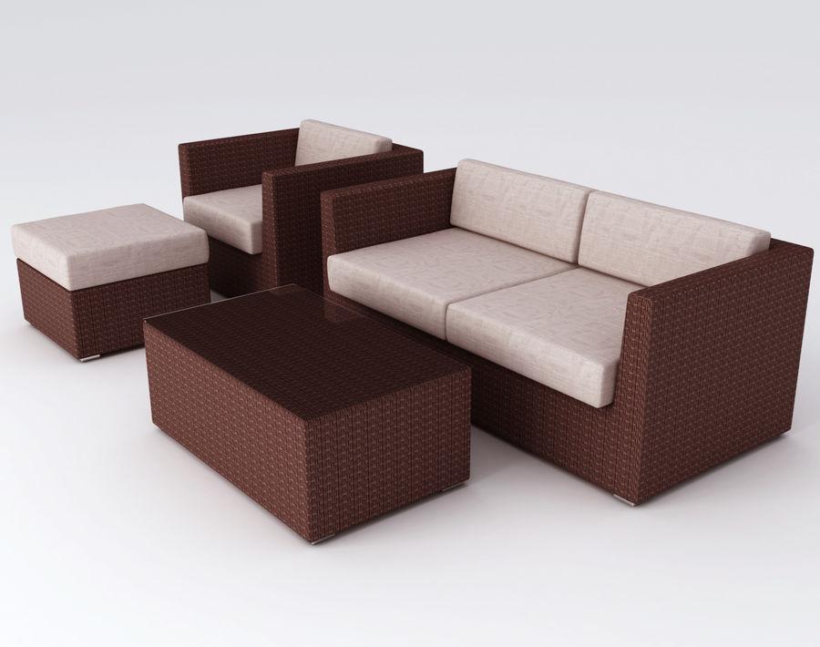 Polyrattan möbel uppsättning royalty-free 3d model - Preview no. 2
