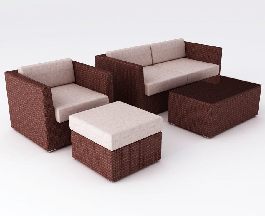 Polyrattan möbel uppsättning royalty-free 3d model - Preview no. 1