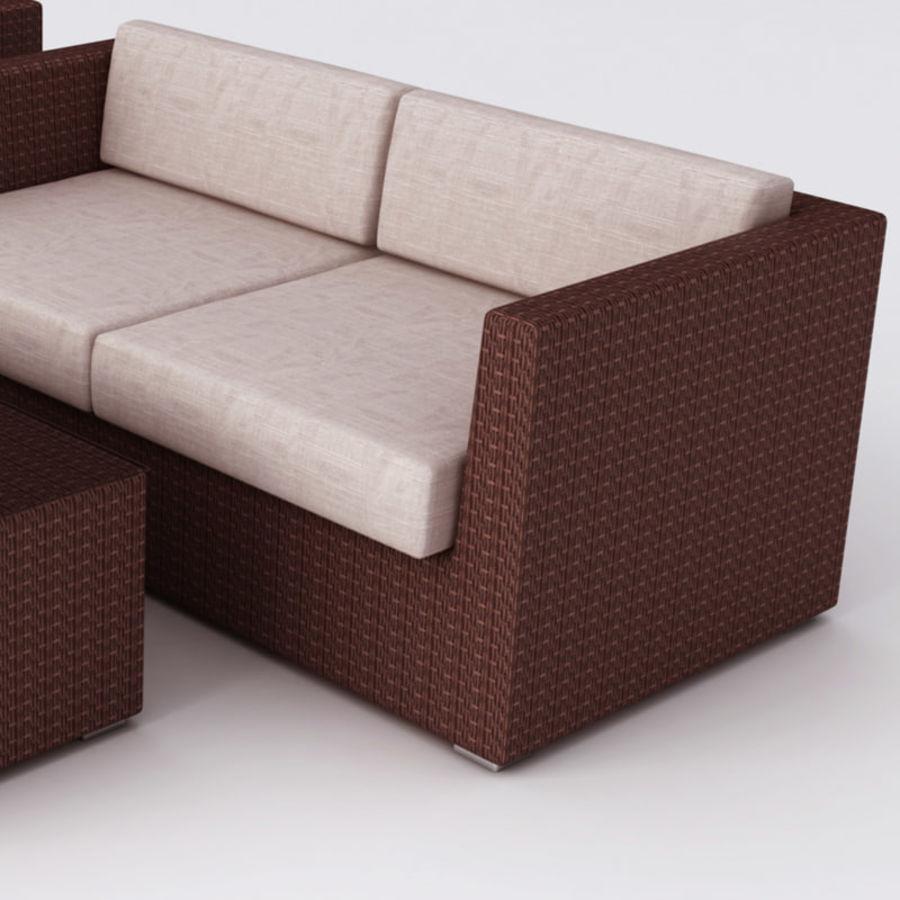 Polyrattan möbel uppsättning royalty-free 3d model - Preview no. 3