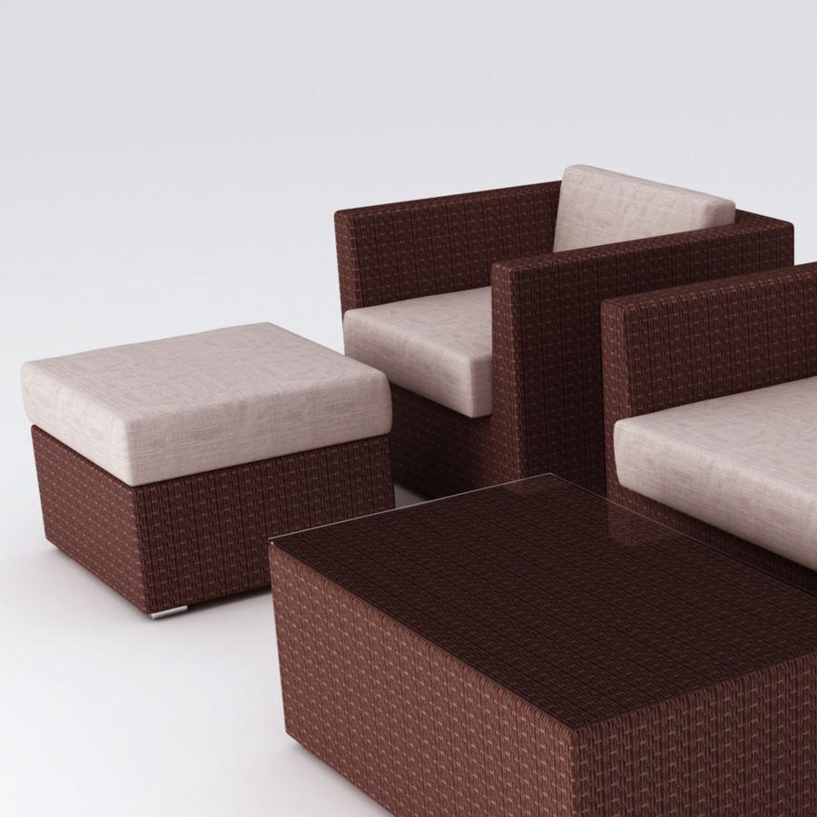 Polyrattan möbel uppsättning royalty-free 3d model - Preview no. 4