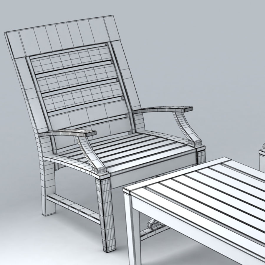 Patio Furniture Set 3 royalty-free 3d model - Preview no. 5