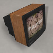 Old Tube Television et cassette VHS 3d model