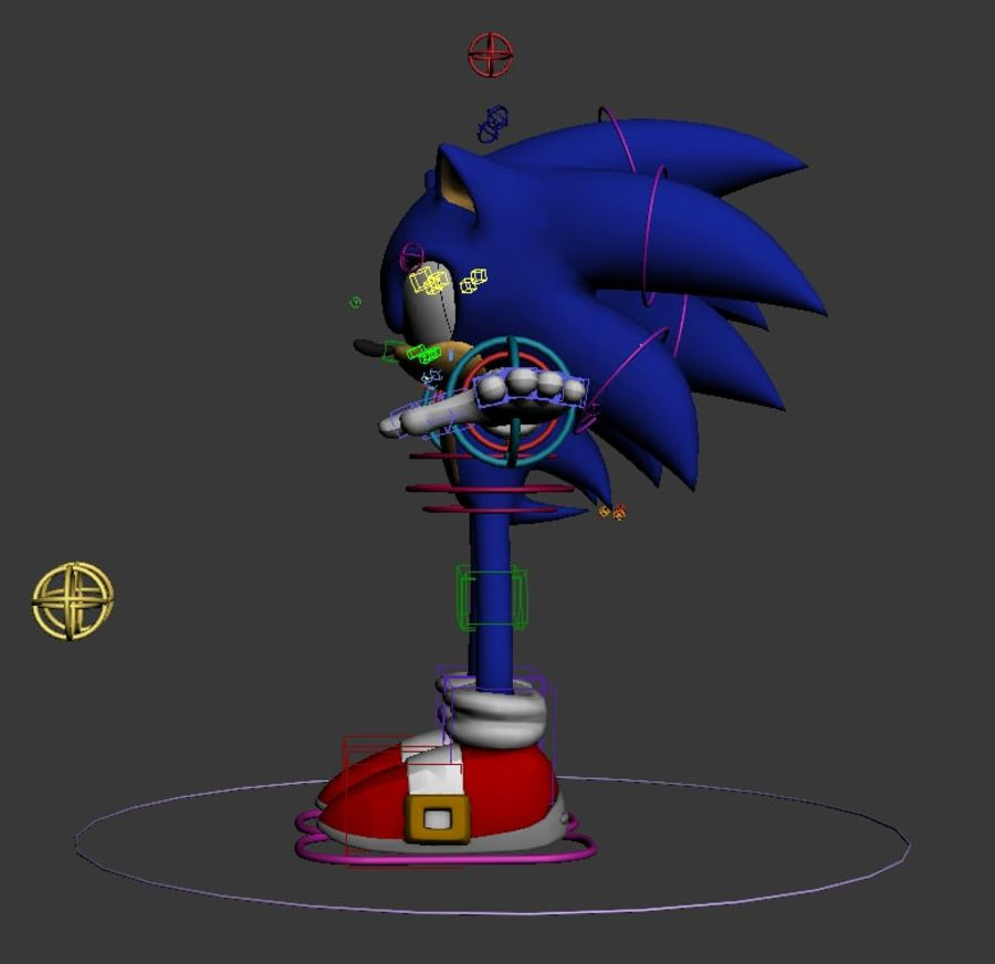 Sonic Complete Rig royalty-free 3d model - Preview no. 3