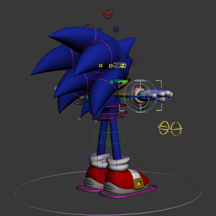 Sonic Complete Rig royalty-free 3d model - Preview no. 2