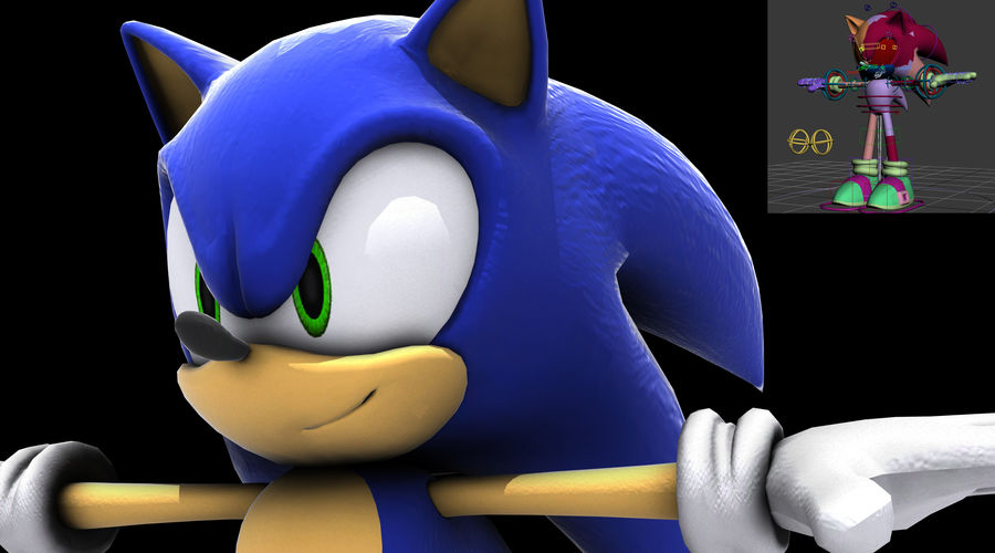 Sonic Complete Rig royalty-free 3d model - Preview no. 4