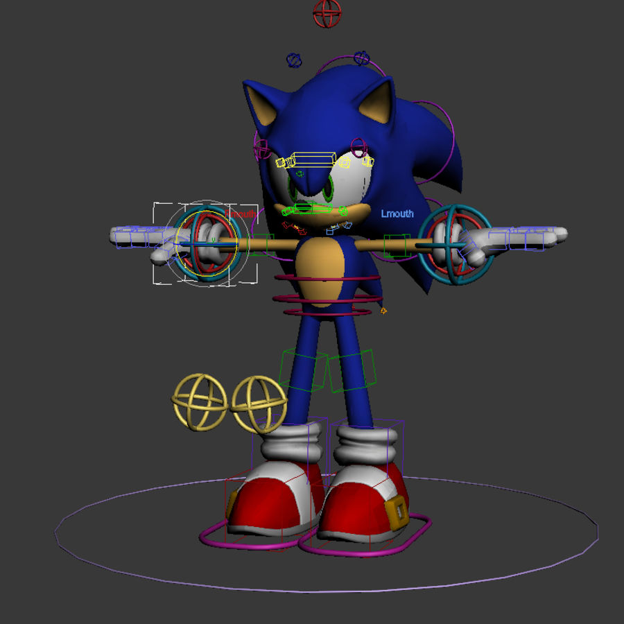 Sonic Complete Rig royalty-free 3d model - Preview no. 1