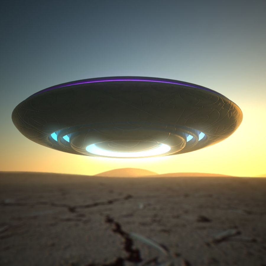 UFO alien spaceship royalty-free 3d model - Preview no. 1