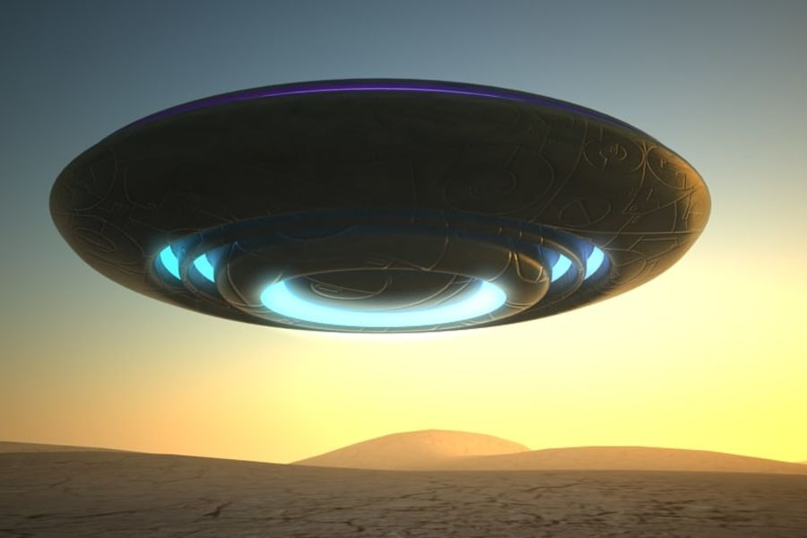 UFO alien spaceship royalty-free 3d model - Preview no. 2