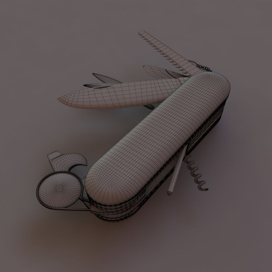 Swiss knife royalty-free 3d model - Preview no. 3