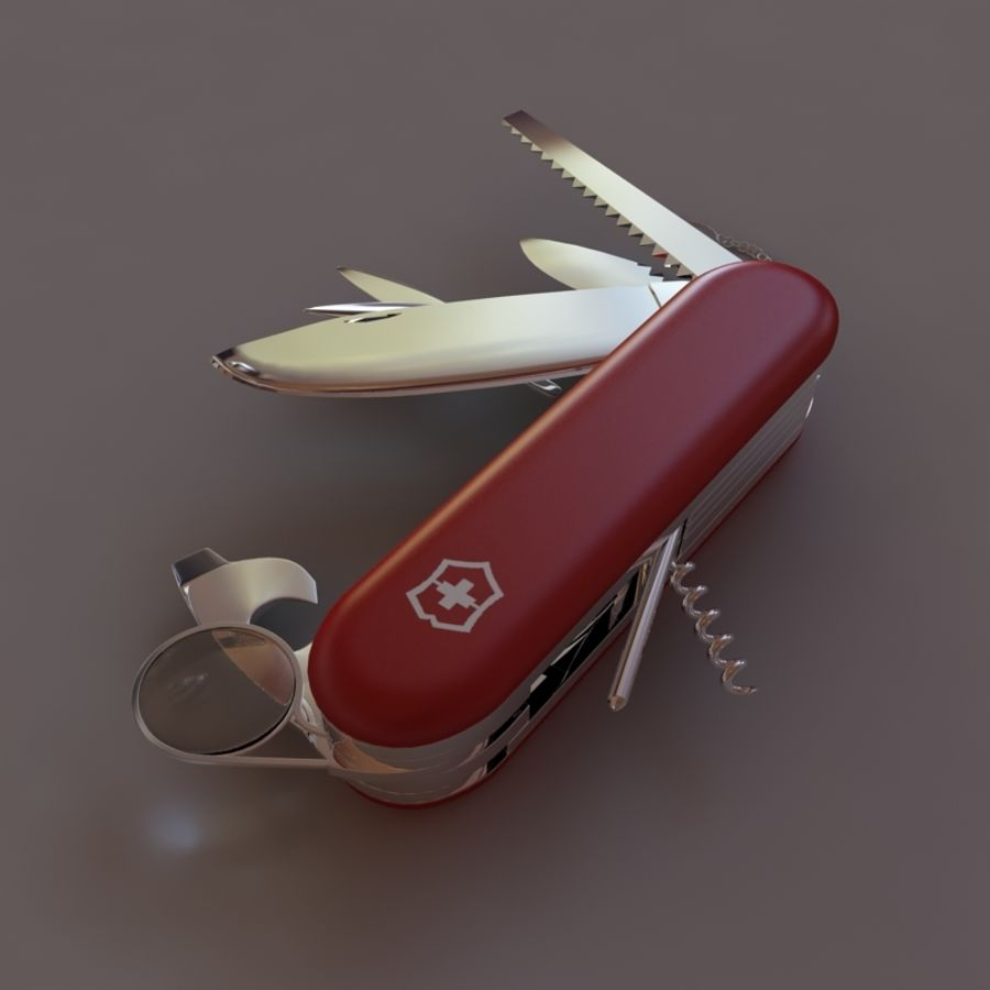 Swiss knife royalty-free 3d model - Preview no. 2