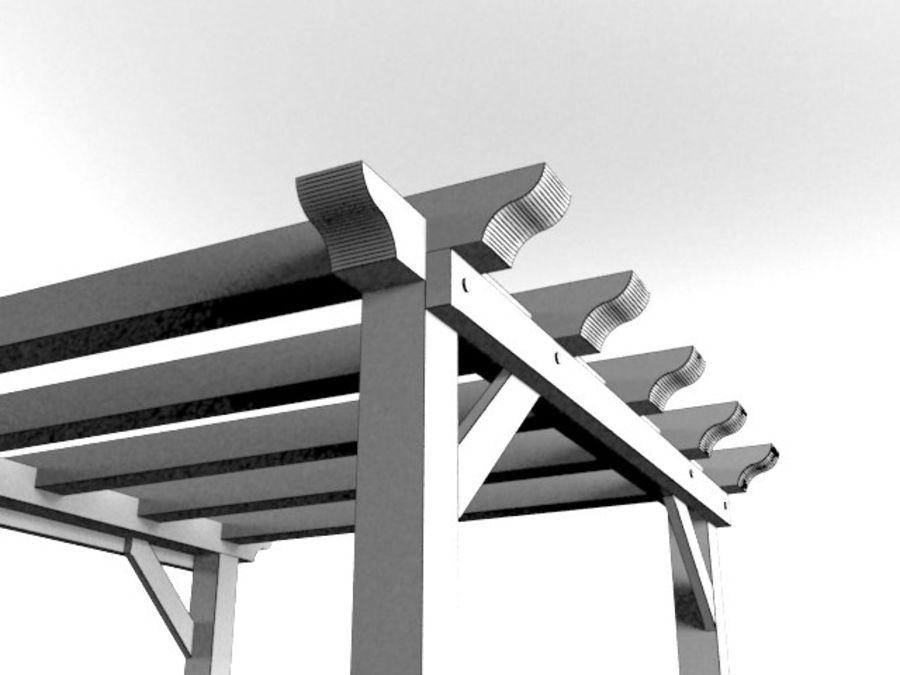 Pérgola de madera pérgola royalty-free modelo 3d - Preview no. 5
