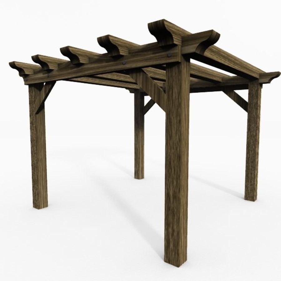 Pérgola de madera pérgola royalty-free modelo 3d - Preview no. 3