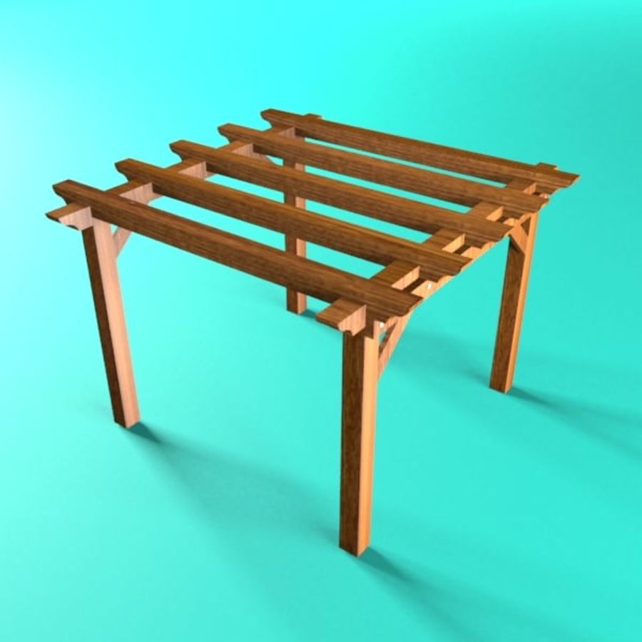 Pérgola de madera pérgola royalty-free modelo 3d - Preview no. 1