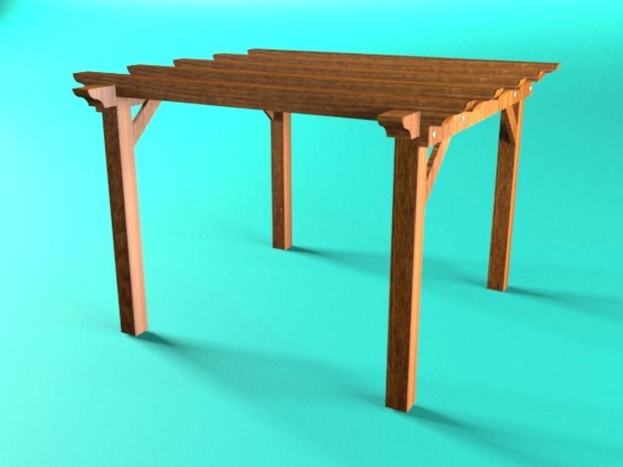 Pérgola de madera pérgola royalty-free modelo 3d - Preview no. 2