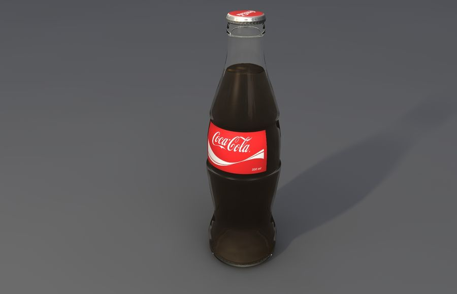 Coca Cola bottle & glass royalty-free 3d model - Preview no. 3