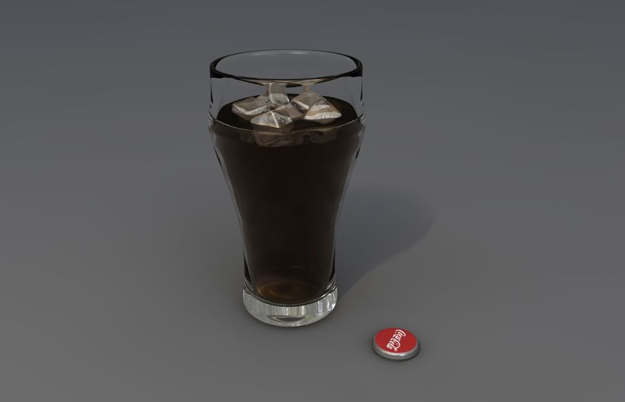 Coca Cola bottle & glass royalty-free 3d model - Preview no. 5