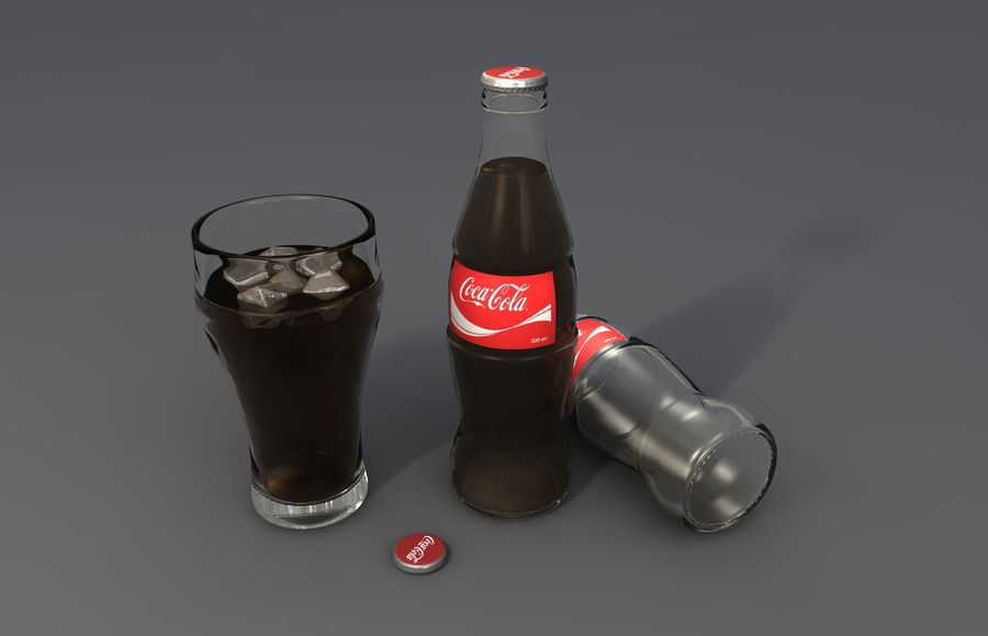 Coca Cola bottle & glass royalty-free 3d model - Preview no. 1