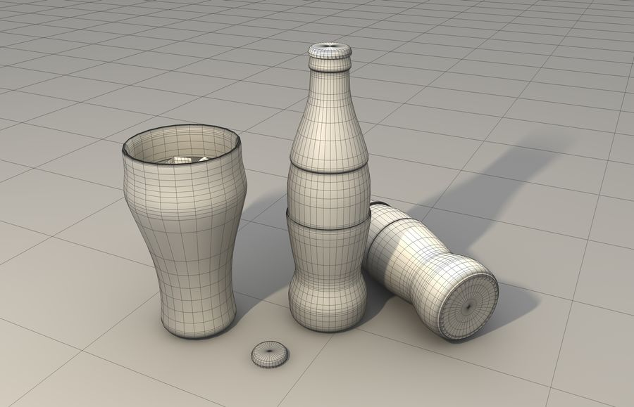 Coca Cola bottle & glass royalty-free 3d model - Preview no. 2
