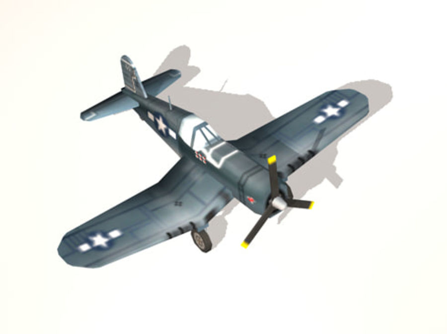 Avion F4U Corsair Fighter royalty-free 3d model - Preview no. 2