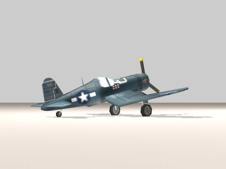 Avion F4U Corsair Fighter royalty-free 3d model - Preview no. 3