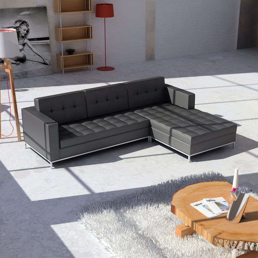 L Couch 02 royalty-free 3d model - Preview no. 2