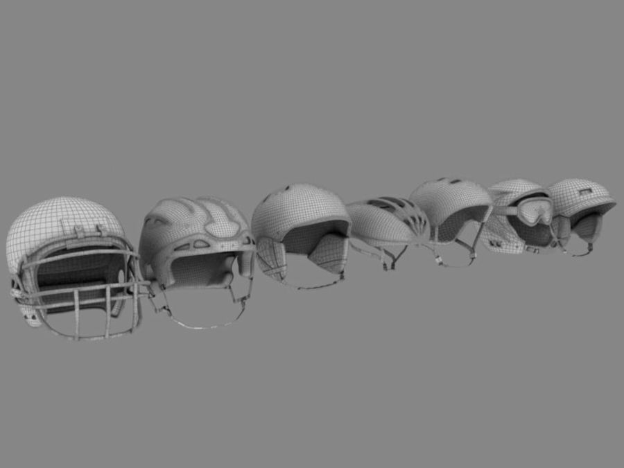 Sport helmets collection royalty-free 3d model - Preview no. 1