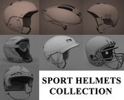Sport helmets collection 3d model