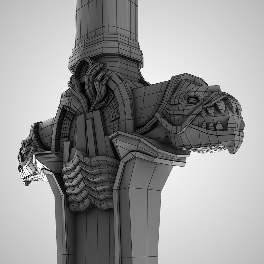 Conan Atlantean King Sword royalty-free 3d model - Preview no. 6
