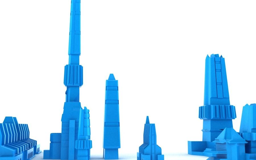 Sci-fi city buildings package royalty-free 3d model - Preview no. 6