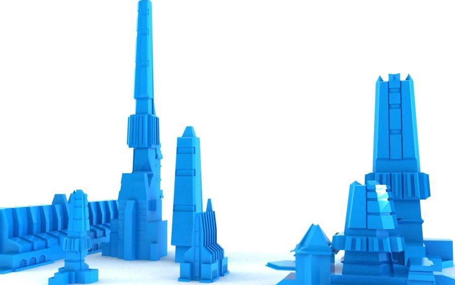 Sci-fi city buildings package royalty-free 3d model - Preview no. 5