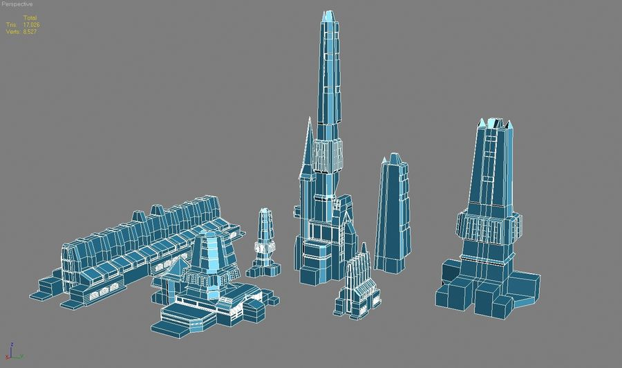 Sci-fi city buildings package royalty-free 3d model - Preview no. 2