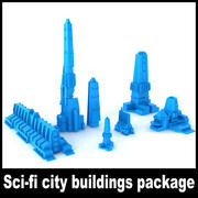 Sci-fi city buildings package 3d model