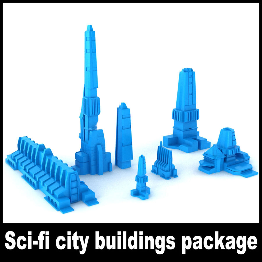 Sci-fi city buildings package royalty-free 3d model - Preview no. 1