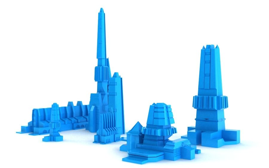 Sci-fi city buildings package royalty-free 3d model - Preview no. 4