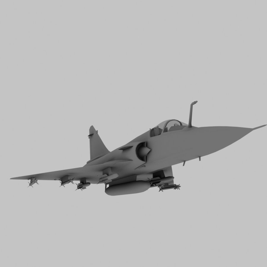 Mirage 2000 French Jet Fighter Aircraft Game royalty-free 3d model - Preview no. 2