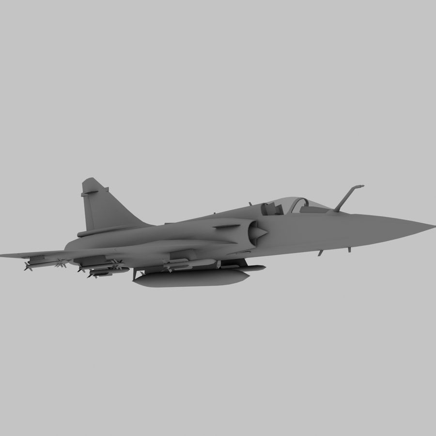 Mirage 2000 French Jet Fighter Aircraft Game royalty-free 3d model - Preview no. 3