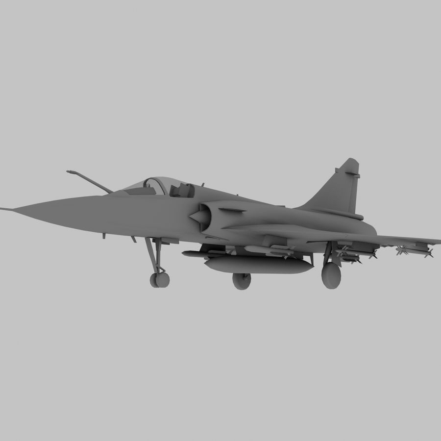 Mirage 2000 French Jet Fighter Aircraft Game royalty-free 3d model - Preview no. 1