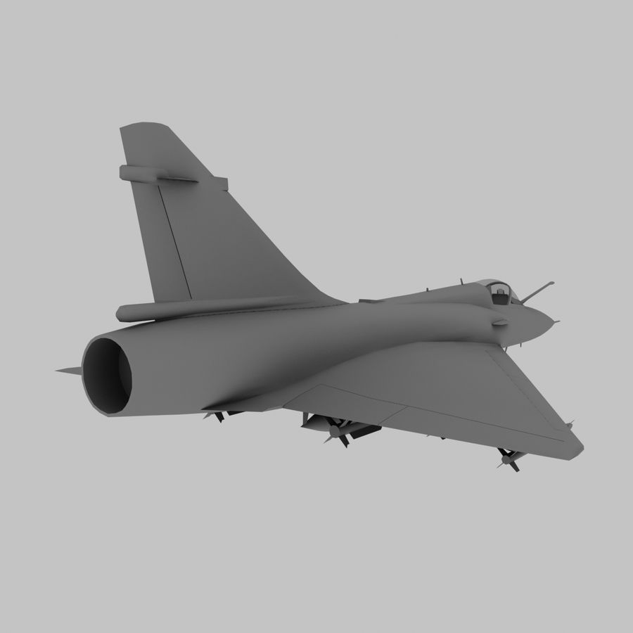 Mirage 2000 French Jet Fighter Aircraft Game royalty-free 3d model - Preview no. 6